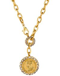 Elizabeth Cole - Crystal Coin Necklace In Metallic Gold. - Lyst