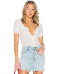 Getting Back to Square One - Henley Bodysuit In Ivory - Lyst