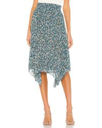 1.STATE Woodland Floral Handkerchief Hem Skirt - Blau