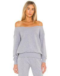 L'Agence Luxe Lounge Kimora Off Shoulder Sweatshirt - Grey