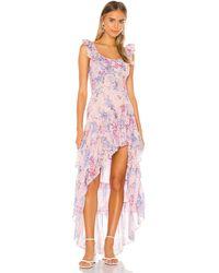 LoveShackFancy Платье С Асимметричным Подолом Winslow В Цвете Whispering Lilac - Розовый
