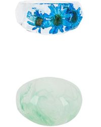 8 Other Reasons Blue Acrylic Flower リングセット - ブルー