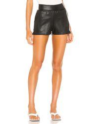 Commando Faux Leather Jogger Short - Black