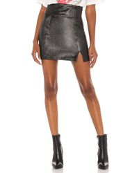 Free People Holding Onto A Dream Coated Denim Mini Skirt - Black