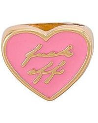 """8 Other Reasons Gold Heart Ring With Resin """"fuck Off"""" - Pink"""