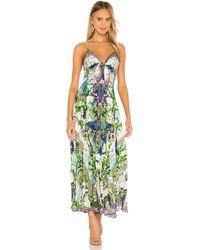 Camilla Tie Front Long Dress - Grün