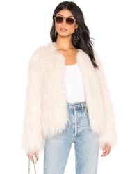 Sanctuary - Studio Fifty Faux Fur Cropped Jacket In Cream - Lyst