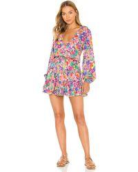 Luli Fama Ruffled Deep V Frill Hem Dress - Multicolour