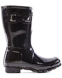 HUNTER Original Short Gloss Boot - Schwarz