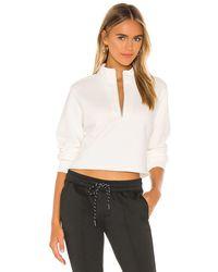 Pam & Gela Crop Half Zip Sweatshirt - Weiß
