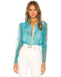 Divine Héritage Chantilly Lace Button Up Blouse - Blue