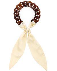 DONNI. Tortoise Silk Tie Headband - Natural