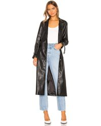 Kendall + Kylie Leather Duster Jacket - Schwarz
