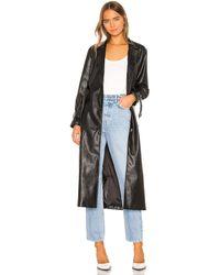 Kendall + Kylie Leather Duster Jacket - Schwarz