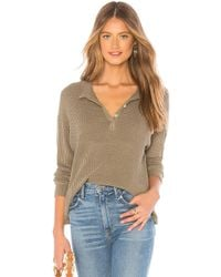 Monrow - Thermal Mock Neck Henley Top In Olive - Lyst