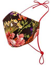GRLFRND Silk Floral Mask - Red