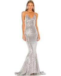 Norma Kamali Sequin Mermaid Fishtail Gown - Metallic