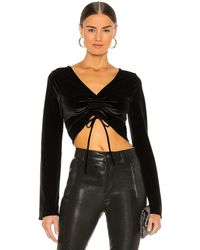 Michael Costello X Revolve Ruched Crop Top - Black