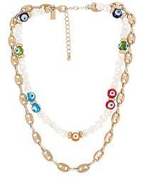 8 Other Reasons Talisman Layered Necklace - Metallic