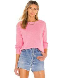 White + Warren Cashmere Long Sleeve Sweatshirt - Pink
