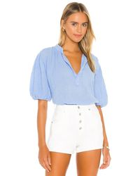 9seed Biarritz Puff Sleeve Top - Blau