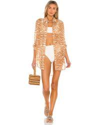 Camila Coelho Платье-рубашка Myla В Цвете Brown Zebra - Коричневый