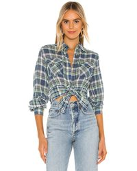 Free People First Bloom Plaid Top - Blue