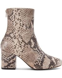 Free People - Cecile Leather Snake Print Block Heel Mid Calf Booties - Lyst