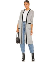 Autumn Cashmere Banded Stripe Cardigan - Grey