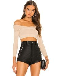 Michael Costello Knit Ribbed Off Shoulder Top - Black