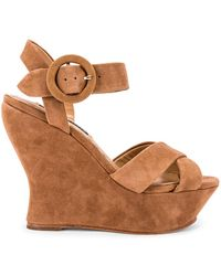 Alice + Olivia Jodiey Suede Wedge Sandals - Brown