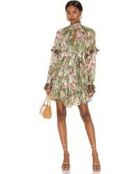 Hemant & Nandita Neem Voluminous Mini Dress - Green