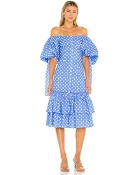 Caroline Constas Nella Midi Dress - Blue