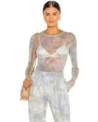 Raquel Allegra Long Sleeve Mesh Tee - Blue