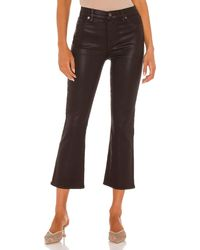 7 For All Mankind High Waist Slim Kick With Faux Pockets - Brown
