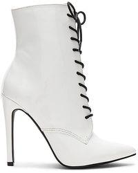 Danielle Guizio Chapel Patent Bootie - White