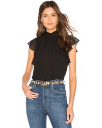 1.STATE - Flutter Sleeve Top In Black - Lyst