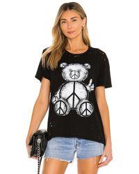 Lauren Moshi Wolf Peace Teddy ボーイフレンドtシャツ - ブラック