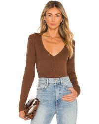 Bardot Collar Bodysuit - Brown