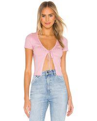 superdown Bethanie Tie Front Top - Pink