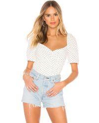 Bardot Button Back Top - White