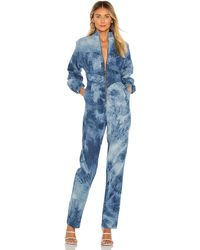Divine Héritage Zip Front High Waisted Jumpsuit - Blue