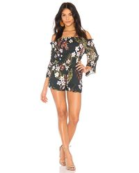 Chaser - Flouncy Sleeve Romper In Green - Lyst