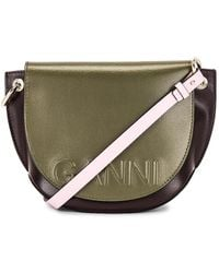 Ganni Banner Saddle Bag - Green