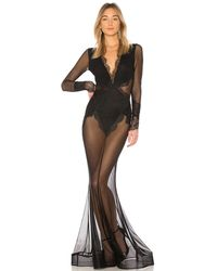 Michael Costello Vestido largo de encaje transparente martin - Negro
