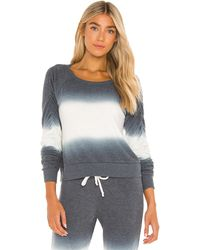 Chaser Bliss Knit Shirred Long Sleeve Raglan Pullover - Grey