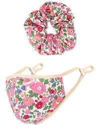 Lovers + Friends Mask Scrunchie Set - Pink