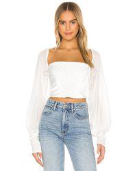 Danielle Guizio Long Sleeve Corset Top - White