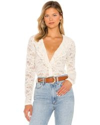 Bardot Frill Lapel レースシャツ - ホワイト