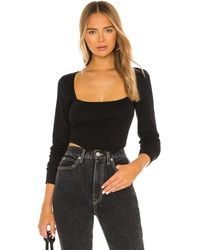 h:ours Square Neck Top - Black